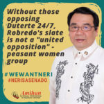 """Without those opposing Duterte 24/7, Robredo's slate is not a """"united opposition"""" – peasant women group"""