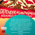 """""""Defend Peasant Women"""" – Amihan calls for immediate release of arrested former organizer"""